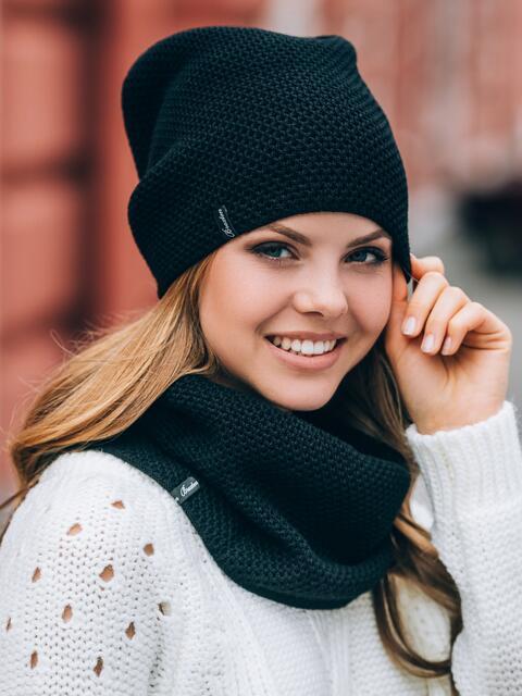 Черные шапка и хомут рельефной вязки 14884, фото 1