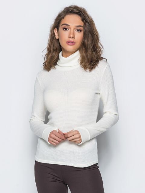 Гольф белого цвета с объёмным воротником - 17367, фото 1 – интернет-магазин Dressa