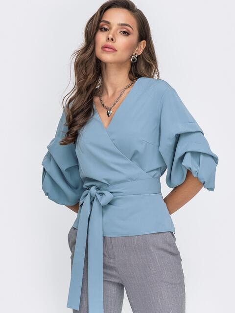 Голубая блузка на запах с объемными рукавами 51181, фото 1