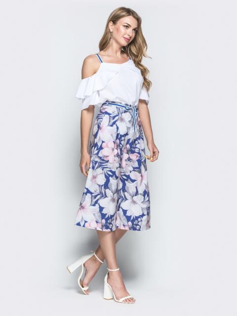 Комплект из блузки и принтованных брюк-кюлотов розовый сиреневый - 38699, фото 1 – интернет-магазин Dressa
