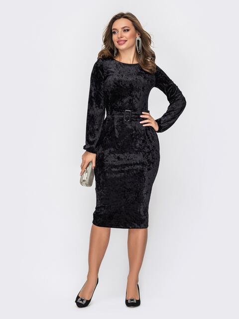 Обтягивающее платье-миди из бархата черное 52293, фото 1