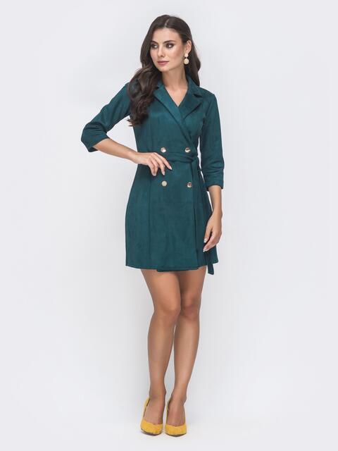 Платье-пиджак с замшевым напылением зелёное 41697, фото 1