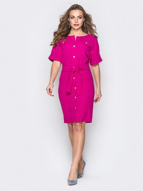 Розовое платье-рубашка с цельнокроеным рукавом - 19382, фото 1 – интернет-магазин Dressa