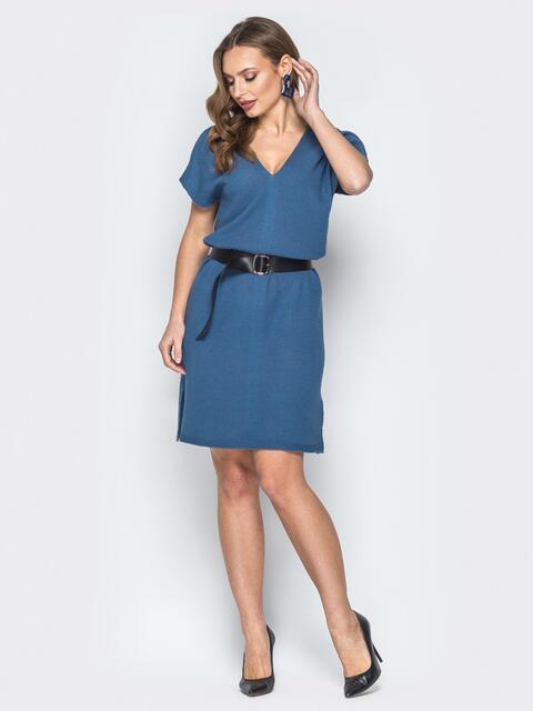 Синее платье с V-вырезом и кожаным поясом - 19842, фото 1 – интернет-магазин Dressa