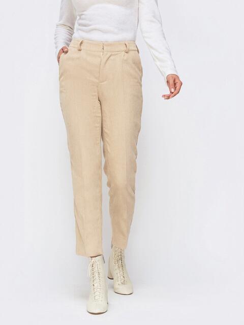Укороченные брюки из вельвета бежевого цвета 41724, фото 1