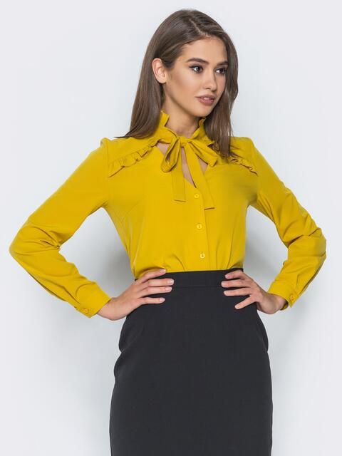 9ef7a22fae7 Желтая блузка с лентой на воротнике