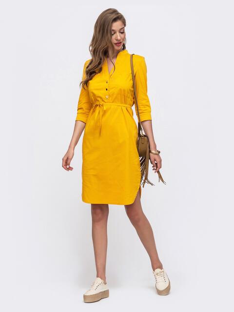 Желтое платье-рубашка прямого кроя на кнопках 54122, фото 1