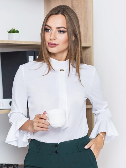 Белая блузка с имитацией галстука - 13240, фото 1 – интернет-магазин Dressa