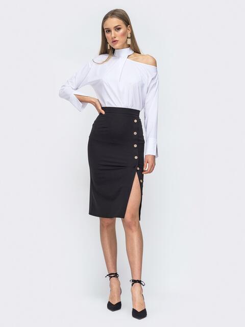 Белый комплект из блузки и юбки-карандаш 45651, фото 1