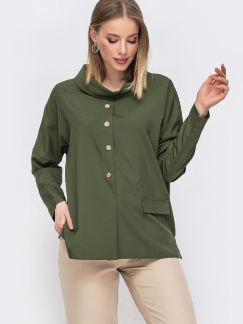 Блузка цвета хаки с воротником-хомут - 45645, фото 1 – интернет-магазин Dressa