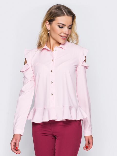 Блузка с воланом понизу и открытыми плечами розовая - 14123, фото 1 – интернет-магазин Dressa