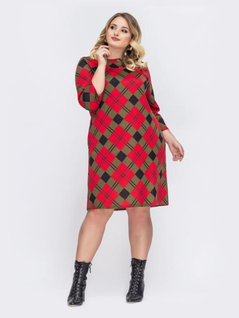 Красное платье-трапеция большого размера в клетку 44035, фото 1