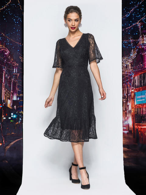 Гипюровое платье с подкладкой и воланом по низу черное - 18228, фото 1 – интернет-магазин Dressa