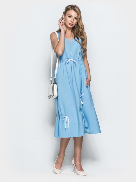 Льняное платье голубого цвета - 39696, фото 1 – интернет-магазин Dressa
