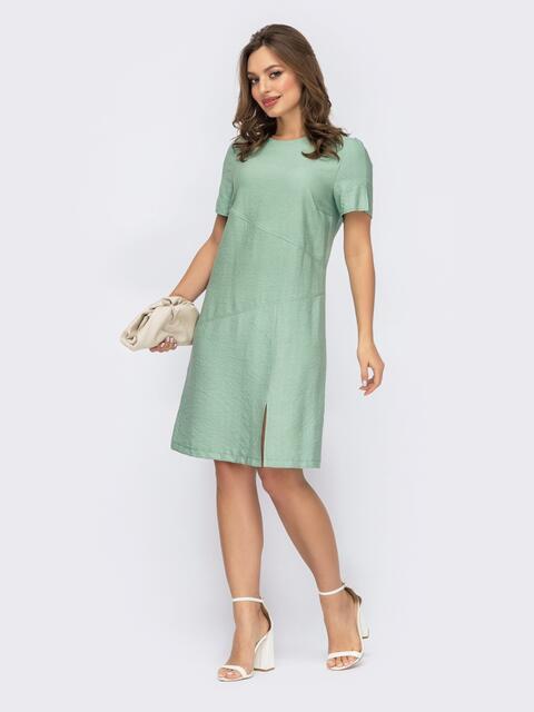 Платье-трапеция мятного цвета с разрезом 53734, фото 1