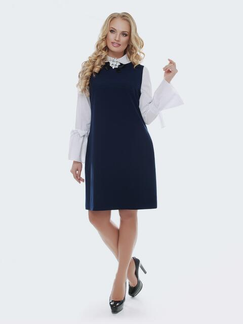 Приталенный сарафан с стиле casual синего цвета - 37136, фото 1 – интернет-магазин Dressa