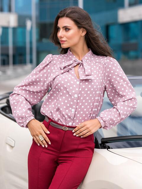 Пудровая блузка в горох с воротником-аскот 41698, фото 1