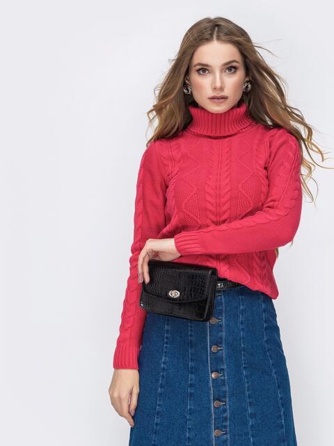Розовый свитер с ажурной вязкой и высоким воротником 42147, фото 1