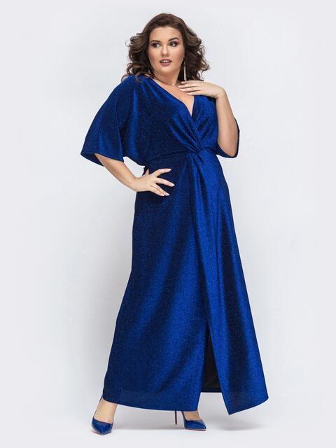 Синее платье-макси большого размера из люрекса 43284, фото 1