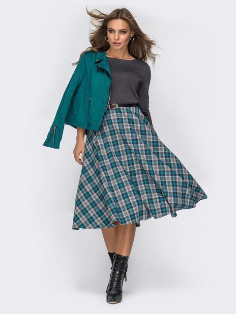 Трикотажное платье с юбкой из костюмной ткани серое - 20020, фото 1 – интернет-магазин Dressa