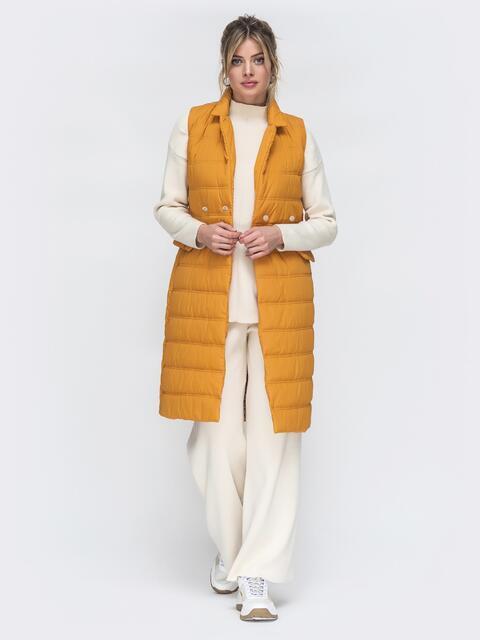 Удлиненный жилет оранжевого цвета - 45150, фото 1 – интернет-магазин Dressa