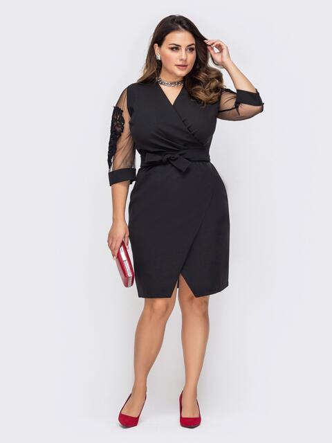 Черное платье с лифом на фиксированный запах батал 51319, фото 1