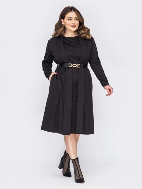 Комплект батал из платья и кардигана черный 53180, фото 1