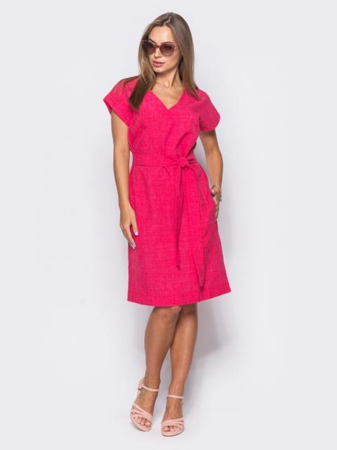 Малиновое льняное платье с укороченным рукавом и поясом - 11761, фото 1 – интернет-магазин Dressa