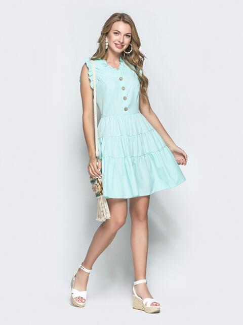 Приталенное платье-мини мятного цвета с оборками - 39306, фото 1 – интернет-магазин Dressa