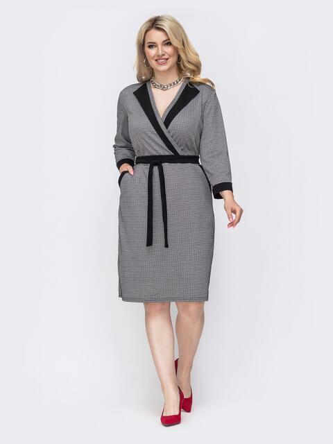 """Приталенное платье с узором """"гусиная лапка"""" чёрное 49824, фото 1"""
