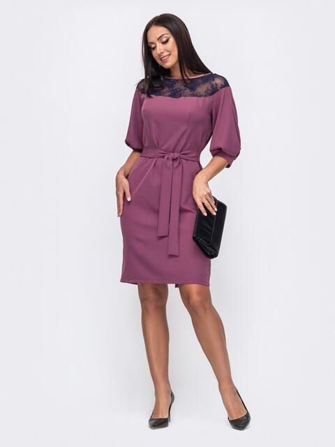 Розовое платье батал со вствками кружева 51307, фото 1
