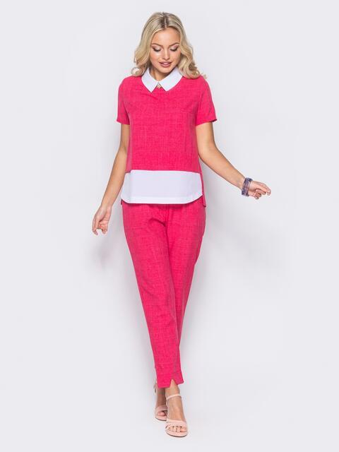 Розовый комплект с имитацией белой блузки под футболкой - 10485, фото 1 – интернет-магазин Dressa