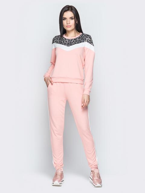 Розовый спортивный костюм со вставкой из леопардового принта - 19485, фото 1 – интернет-магазин Dressa