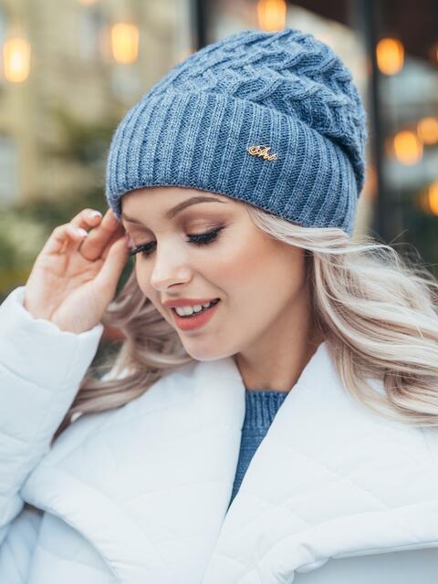 Синяя шапка-бини на флисе 50117, фото 1