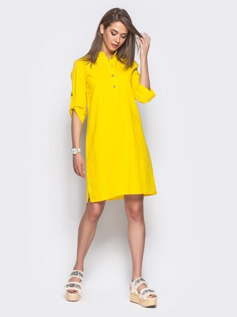 Желтое льняное платье-рубашка прямого кроя с пуговицами 11315, фото 1