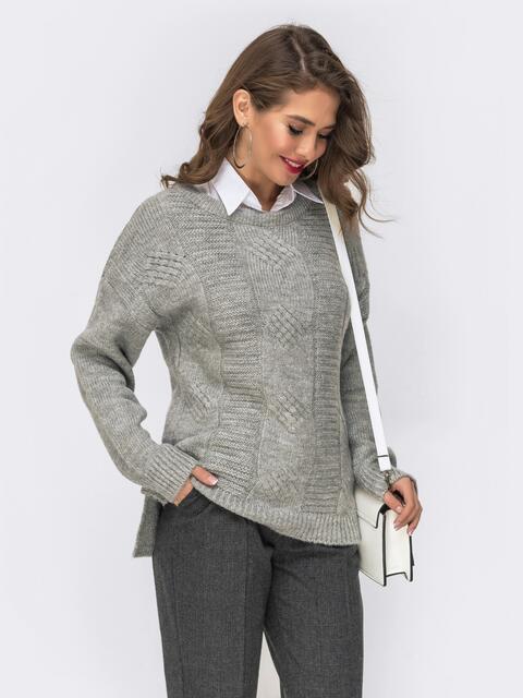 Ажурный свитер с разрезами по бокам серый - 41838, фото 1 – интернет-магазин Dressa