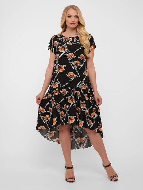 Чёрное платье батал с удлинённой спинкой с цветочным принтом  - 48568, фото 1 – интернет-магазин Dressa