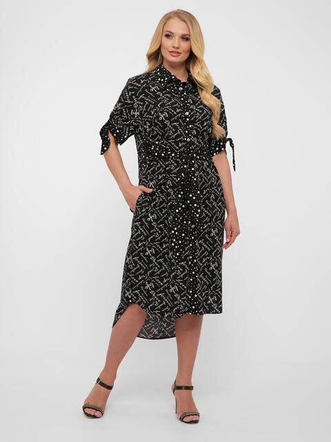 Чёрное платье-рубашка большого размера с удлинённой спинкой - 48562, фото 1 – интернет-магазин Dressa