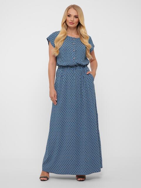 Голубое платье большого размера с эластичной тесьмой в поясе  48559, фото 1