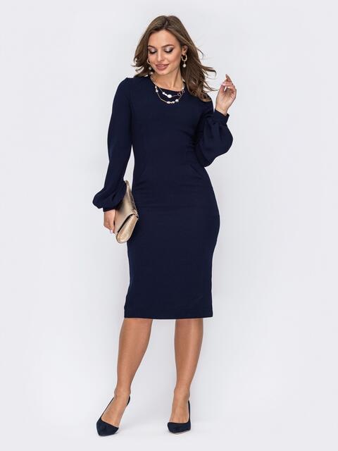 Классическое платье-футляр с объемными рукавами тёмно-синее 51969, фото 1