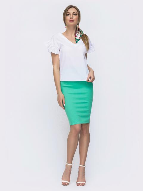 Комплект из юбки и блузки бирюзовый 46622, фото 1