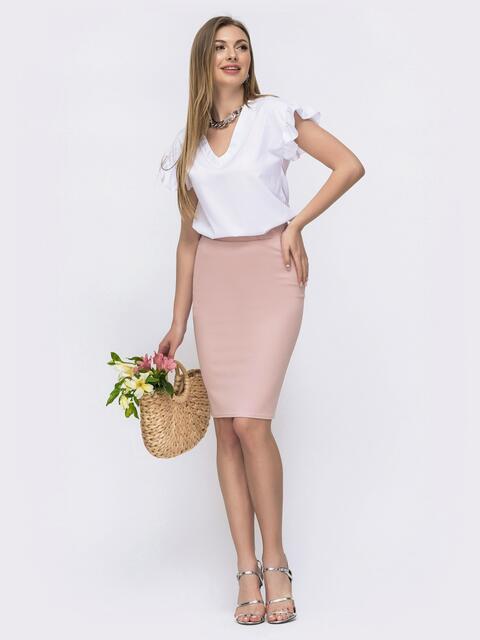 Комплект из юбки и блузки пудровый - 46620, фото 1 – интернет-магазин Dressa