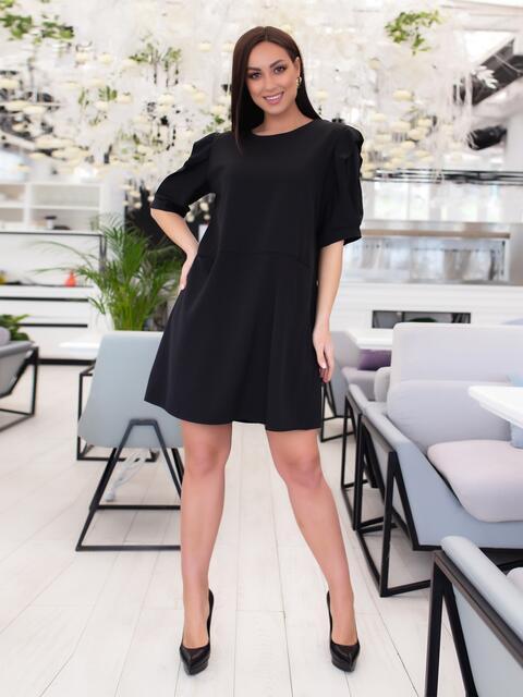 Короткое платье-трапеция большого размера чёрное - 46508, фото 1 – интернет-магазин Dressa