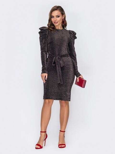 Платье-миди с люрексом и буфами на рукавах чёрное 51971, фото 1