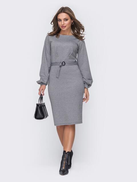 Приталенное платье из трикотажа с объемными рукавами серое 51652, фото 1
