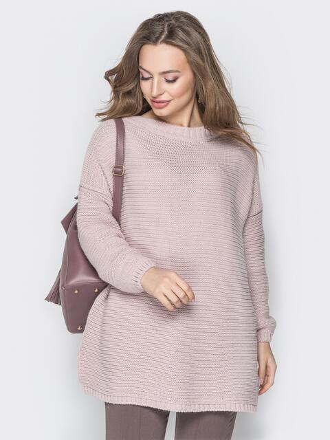 Розовый свитер oversize с вырезом по спинке и украшением - 19344, фото 1 – интернет-магазин Dressa