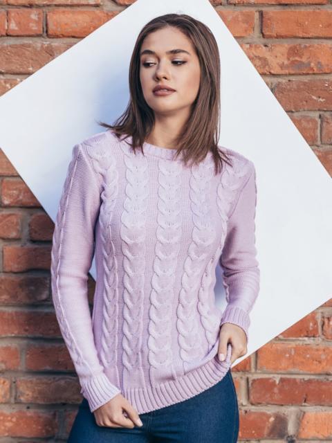 """Розовый вязаный свитер с узором """"косы"""" - 15971, фото 1 – интернет-магазин Dressa"""
