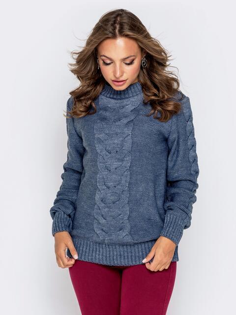 Синий свитер с ажурной вязкой - 41072, фото 1 – интернет-магазин Dressa