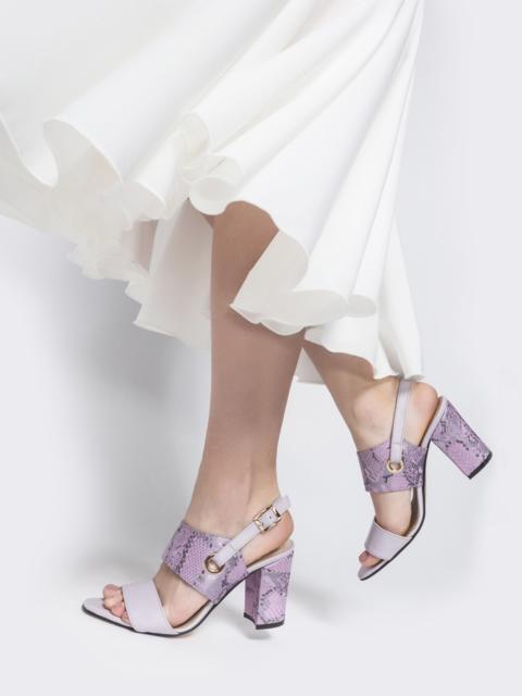 Сиреневые босоножки на устойчивом каблуке - 38988, фото 1 – интернет-магазин Dressa