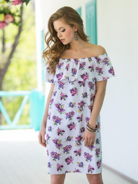 Белое платье с цветочным принтом и открытыми плечами 30690, фото 1